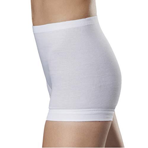 con-ta 5er Spar-Pack Damen Pagen-Schlüpfer mit Bein - Feinripp Unterhose - 100% Baumwolle - Weiß - Trockner geeignet (44, 5 X Weiß)