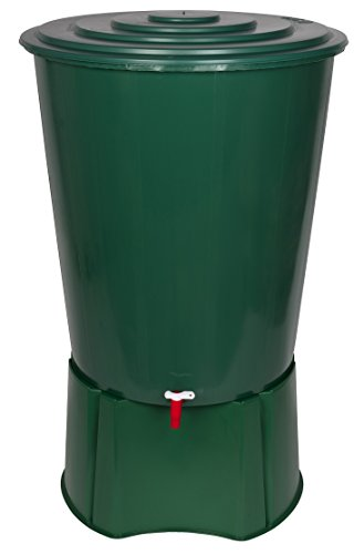 XL Regentonne 310 Liter aus Kunststoff in Grün. Mit sehr robustem Monoblock Stand, Wasserhahn und Deckel mit Sicherheitsverschluss! Top Qualität