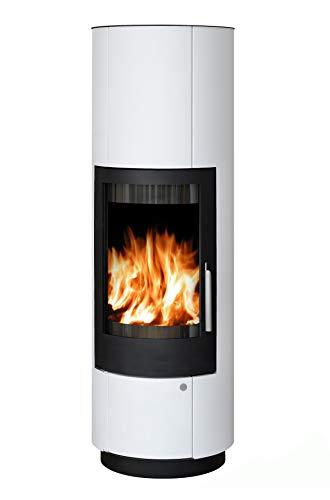 ABX Kamin-Ofen Porto II weiß Holzofen rund 6 kw manuelle Luftregulierung 150mm Abgasstutzen Wärmeabgabe verlängerbar durch zusätzliches Speicherstein-Set