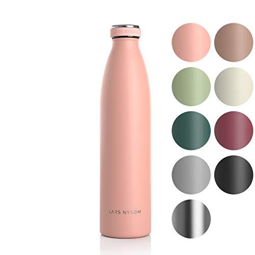 LARS NYSØM Edelstahl 1 Liter Trinkflasche | BPA-freie Isolierflasche 1000ml | Auslaufsichere Wasserflasche für Sport, Fahrrad, Hund, Baby, Kinder (Nude)