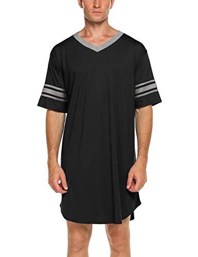 ADOME Nachthemd Herren Kurzarm Schlafanzug Nachtwäsche Herrennachthemd Knielang Pyjama Schlafkleid Sommer Männer