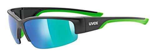 uvex Unisex– Erwachsene, sportstyle 215 Sportbrille, black mat green, one size