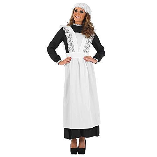 Fun Shack Schwarzes Dienstmädchen Kostüm für Damen, Mittelalter Maid Outfit - XXL
