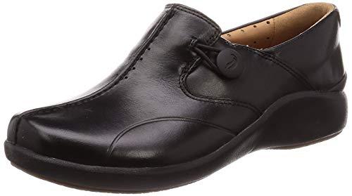 Clarks Damen Un.Loop2 Walk Slipper, Schwarz (Black Leather Black Leather), 37 EU