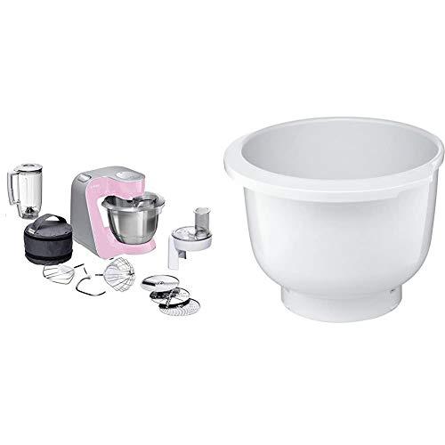 Bosch MUM58K20 CreationLine Küchenmaschine (1000 Watt, 3, 9 Liter, edelstahl-Rührschüssel, Durchlaufschnitzler, Mixer-Aufsatz) pink + MUZ5KR1 Kunststoff-Rührschüssel für Küchenmaschine Mum5