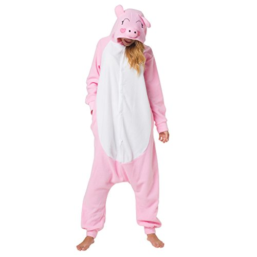 Katara 1744 - Schweinchen Kostüm-Anzug Onesie/Jumpsuit Einteiler Body für Erwachsene Damen Herren als Pyjama oder Schlafanzug Unisex - viele Verschiedene Tiere