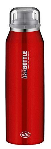 alfi 5677.104.050 Isolier-Trinkflasche isoBottle, Edelstahl Pure Rot 0,5 l, 12 Stunden heiß, 24 Stunden kalt, Spülmaschinenfest, BPA-Free