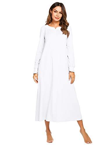 Nachthemd Damen Langarm Schlafkleid Einteiliger Schlafanzug Nachtkleid Retro-Stil Kleid Warme Sleepshirt Pyjama aus Baumwolle für Frauen Schwangere Oma Weiß M