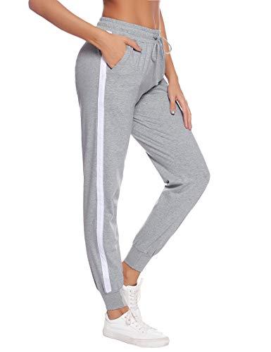 Aibrou Damen Jogginghose Sporthose Freizeit Hose Baumwolle Lang für Jogging Laufen Fitness Traininghose mit Streifen Grau-2 L