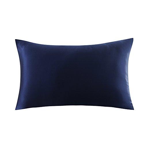 ZIMASILK Kissenbezug aus 100% Seide für Haare und Haut. Doppelseitige 19 Momme Reine Maulbeerseide Kissenhülle mit Reißverschluss, 1 Stück.(40x60cm,Dunkelblau)