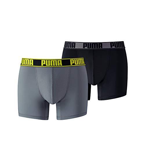 PUMA Herren Active Boxer 2P Packed Unterwäsche, Grey Yellow, L (2er Pack)