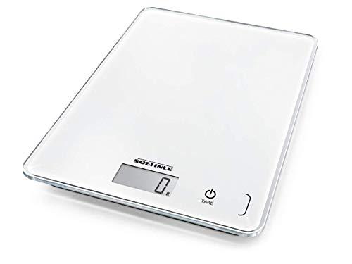 Soehnle Page Compact 300 digitale Küchenwaage bis zu 5 kg Tragkraft, Küchenwaage mit leicht ablesbarer LCD-Anzeige, Digitalwaage mit Zuwiegefunktion, weiß