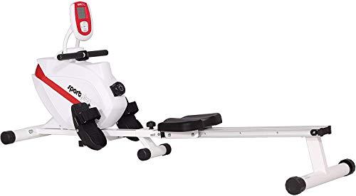 SportPlus Rudergerät klappbar für zuhause, TÜV geprüft, leises & wartungsfreies Magnetbremssystem, kugelgelagerter Rudersitz, Trainingscomputer, Nutzergewicht bis 150 kg, SP-MR-008