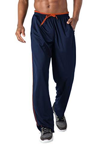 KEFITEVD Jogginghose Herren Extra Lang mit Zip-Taschen Fitnesshose Yoga Training Bekleidung Trainingshose Atmungsaktiv Meshgewebe Laufhose Männer Dunkelblau-Orange XL