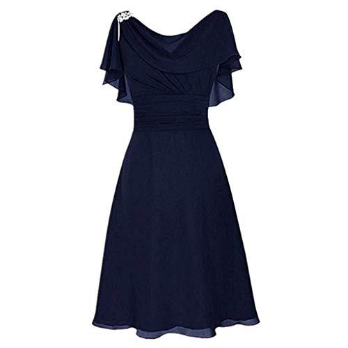 LOPILY Abendkleid Große Größen Damen Rüschen Kurzarm V-Ausschnitt Cocktail Kleid Rückenfreies Kleid Übergrößen Festliche Kleider für Damen Große Größen Kleid für Hochzeit Gast (Dunkelblau, DE-38/CN-L)