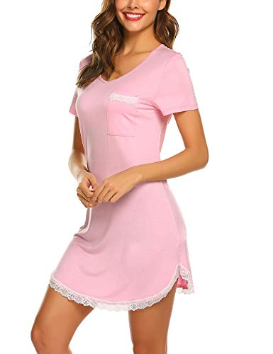 MAXMODA Damen Nachthemd Kurz Baumwolle Spitze Nachtwäsche Nachtkleid Negligee Sleepshirt Kurzarm für Sommer