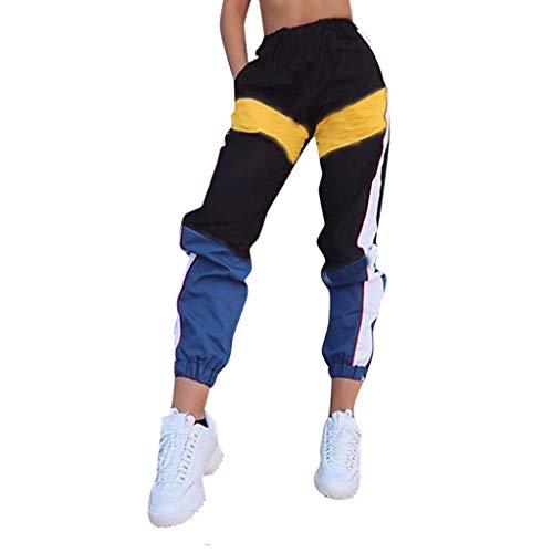 NINGSANJIN Damen Sportanzug Jogginganzug Jogger Jogginghose Trainingshose Sporthose Hose Neon Power Sweatpants (S, Schwarz)