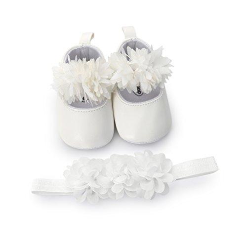 EDOTON Baby Mädchen Blume Schuhe mit Haarband Anti-Rutsch-Weiche Taufe Prinzessin Lauflernschuhe Sneaker für Kleinkind (12-18 Monate, Weiß)
