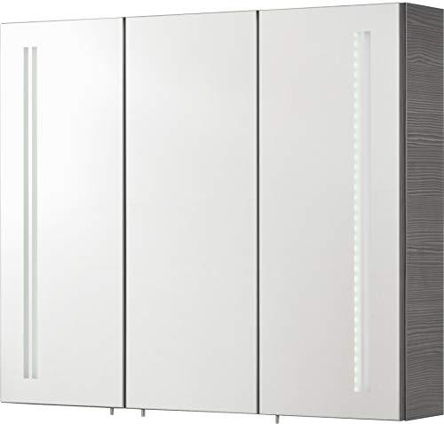 FACKELMANN LED Spiegelschrank Lugano/Badschrank mit Soft-Close-System/Maße (B x H x T): ca. 80 x 68 x 16 cm/Möbel fürs WC oder Badezimmer/Korpus: Grau/Front: Spiegel/Breite 80 cm