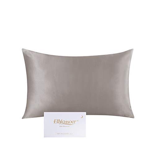 Ethlomoer Kissenbezug aus 100% natürlicher Reiner Seide für Haar und Haut, beidseitig 19 Momme, 600 Fadenzahl, Design mit verstecktem Reißverschluss, 1 Stück 40x60cm Dunkelgrau