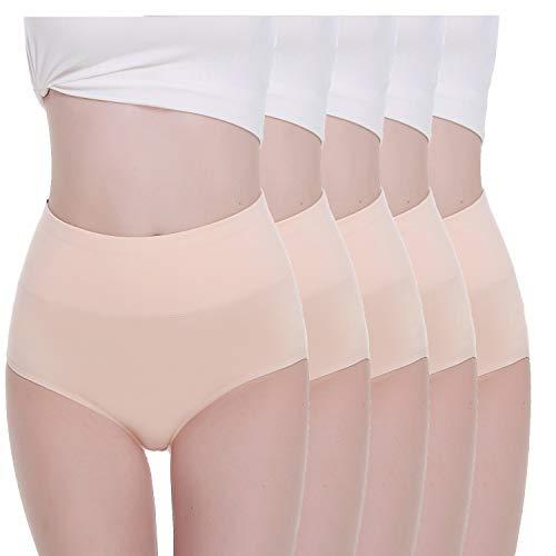 TUUHAW Unterhosen Damen Unterwäsche 5er Pack Slip Miederhose Baumwolle Hoher Taille Atmungsaktive_Hautfarbe_M