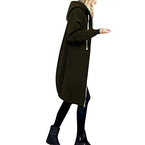 OverDose Damen Herbst Winter Outing Stil Frauen Warm Reißverschluss Öffnen Clubbing Dating Elegante Hoodies Sweatshirt Langen Mantel Jacke Tops Outwear Hoodie Outwear(Armeegrün,EU-40/CN-L)