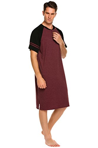Nachthemd Herren Kurzarm Patientenhemd Schlafanzug Nachtwäsche mit Knopfleiste Knielang Schlafkleid für Männer Sommer (Rot, L(52-54))
