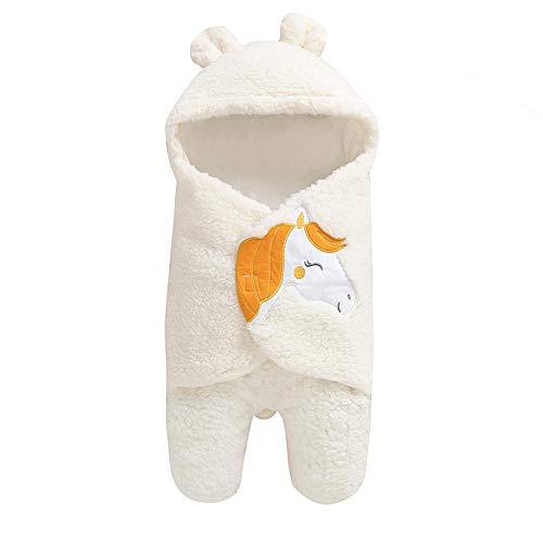 Huhu833 Baby Schlafsack, Neugeborenes Baby Swaddle Decke Cute Warm Baumwolle Regenbogen Pferd Drucken Schlafdecke Junge Mädchen Wickeln Wickel (Weiß)