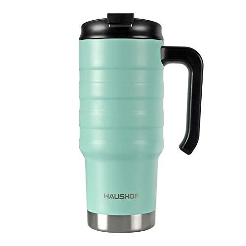 HAUSHOF Isolierbecher Thermobecher Reisebecher 700 ml mit Doppelwand-Vakuum aus Edelstahl mit Deckel und Griff für Auto Büro Unterwegs BPA Frei