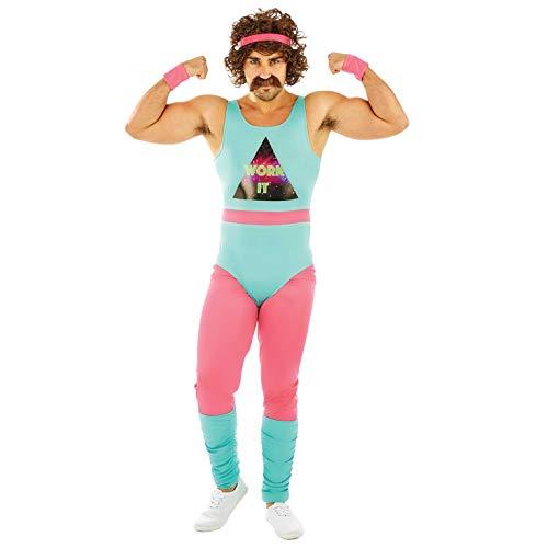 Fun Shack Blau 80er Jahre Fitnesstrainer Kostüm für Herren - Extra-Groß