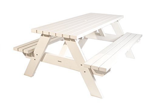 MaximaVida Picknicktisch Curaçao weiß 180 cm, Picknickbank weiß, Trend aus Holland