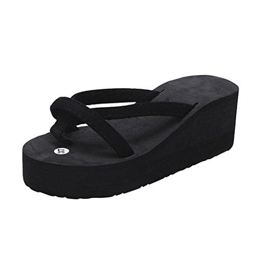 FNKDOR Damen Sommer Keilabsatz Zehentrenner Plateau Flip Flop Strand Sandalen Schuhe Pantoletten (35, Schwarz)