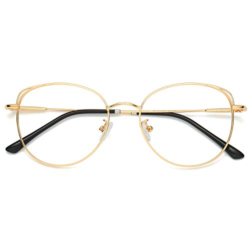 SOJOS Runde Brille Damen Blaulichtfilter Katzenaugen Computer-Gläser Handgemacht Hochwertig SJ5027 mit Gold Rahmen/Anti-Blaulicht Linse