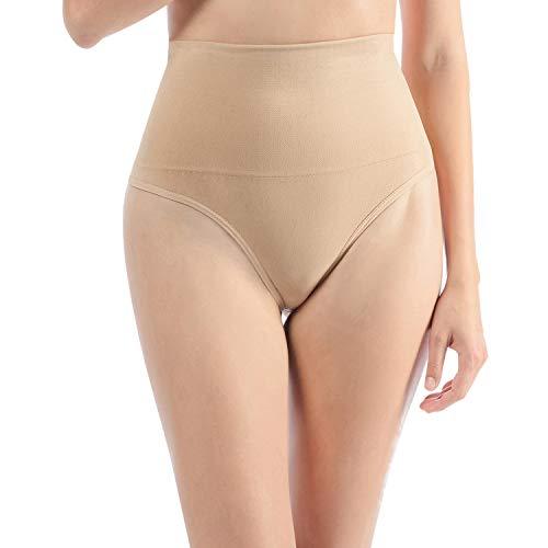 Libella Damen Hohe Taille Miederslip Shapewear Bauch Kontrolle String Tanga Figurformende Miederhose Unterwäsche 3612 Beige S/M