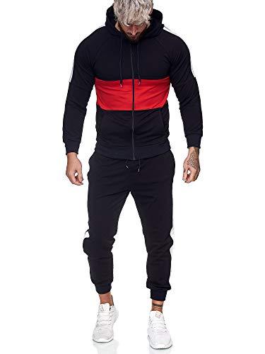 Code47 | Herren Trainingsanzug | Jogginganzug | Sportanzug | Jogging Anzug | Hoodie-Sporthose | Jogging-Anzug | Trainings-Anzug | Jogging-Hose | Modell JG-1081 Schwarz-Rot L
