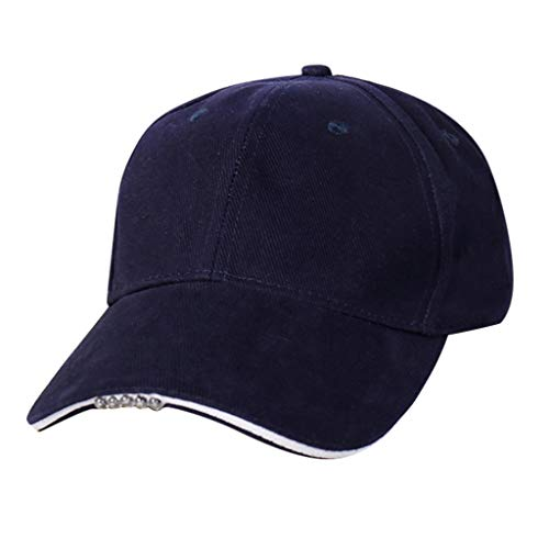 Qiamay LED beleuchtetes Baseball Hat Glühen Angelnhut einstellbare Nachtbeleuchtung Kappe Hip Hop Golf Cap für Camping Sport Party Angeln Jagd(Navy,One Size)