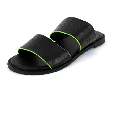 Inuovo Pantolette Sandals Black-Neon Yellow Größe 42, Farbe: Black-Neon Yellow