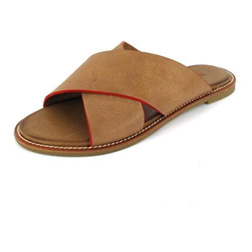 Inuovo Pantolette Sandals Camel-Neon Red Größe 36, Farbe: Camel-Neon Red