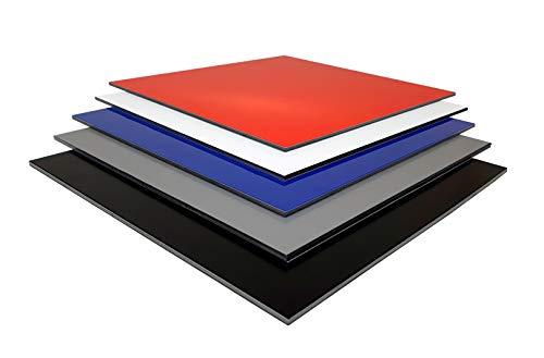 Alu-Verbundplatten Sandwichplatte DILITE® 3mm diverse Farben und Zuschnitte verbundplatte (610 x 375 mm, weiß matt/matt)
