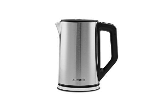 Gastroback 42436 Design Wasserkocher Cool Touch, doppelwandiger Edelstahl-Behälter 1,5 Liter, 2.200 Watt, 18/8, 1.5 liters, silber, schwarz