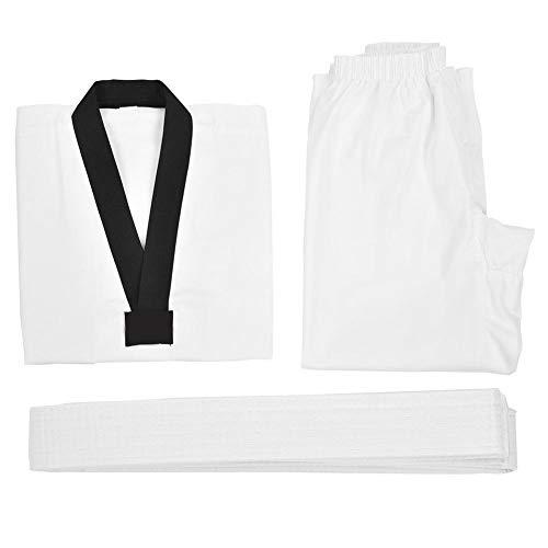 Taekwondo Uniform Anzüge TKD Karate Kampfkunst Anzug Uniform V-Ausschnitt Kostüm Tuch Set(170)