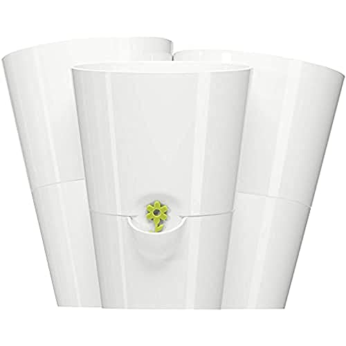 Emsa 515352 Trio Kräutertopf für frische Kräuter, Selbstbewässerung, Wasserstandsanzeiger, 27 x 25 x 21 cm, Weiss, Fresh Herbs Trio