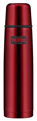 THERMOS Thermosflasche Edelstahl Light&Compact, Edelstahl rot 1L, Isolierflasche mit Trinkbecher 4019.248.100 spülmaschinenfest, Thermoskanne hät 24 Stunden heiß, 24 Stunden kalt, BPA-Free