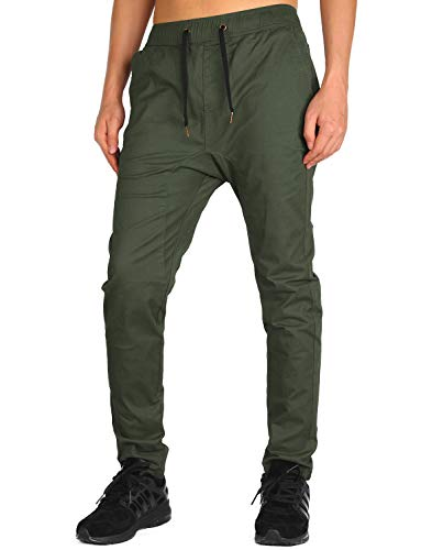 THE AWOKEN Herren Chino Drop Crotch Joggers (Armeegrün, S)