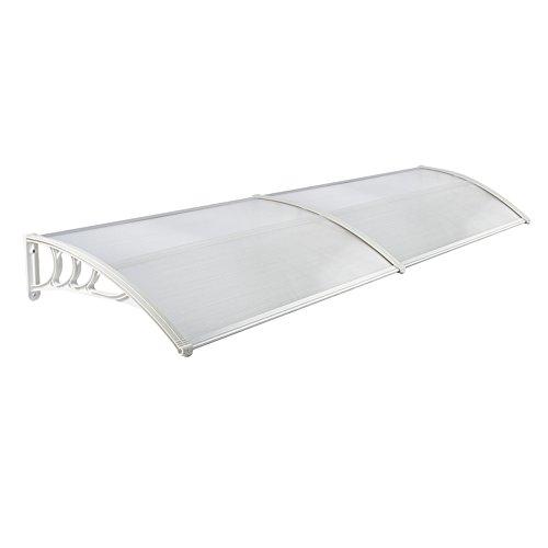 LZQ 300 x 100cm Vordach Türdach Pultbogenvordach Überdachung Polycarbonat Transparentes weiß Haustür Überdachung Haustürvordach Pultvordach - diverse Größen- diverse Farbe (300 x 100cm, Weiß)