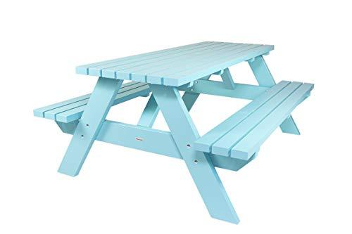 MaximaVida Picknicktisch Curaçao blau 180 cm, Holz, Picknickbank blau, Trend aus Holland
