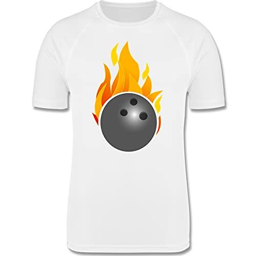 Shirtracer Bowling & Kegeln - Bowling Ball Flammen bunt - L - Weiß - Action - F350 - Herren Laufshirt