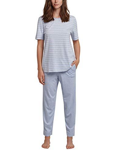 Schiesser Damen Anzug 7/8, 1/2 Arm Zweiteiliger Schlafanzug, Blau (Hellblau 805), 40 (Herstellergröße: 040)