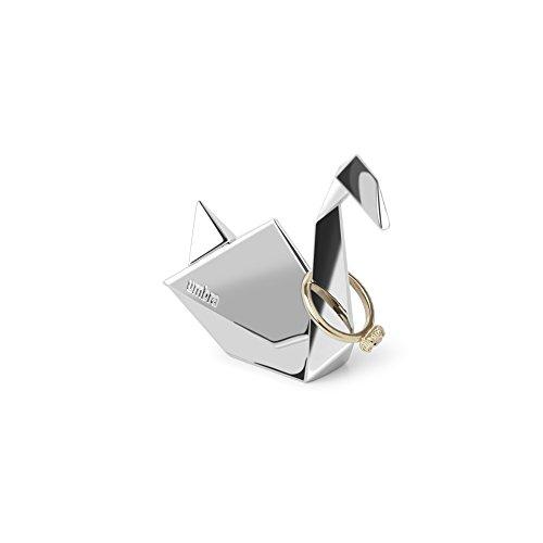 Umbra Origami Schwan Ringhalter – Moderne Ringablage, Ideales Gastgeschenk, Beschichtetes Metall / Chrom