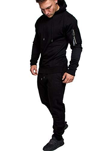 Amaci&Sons Herren Cargo Stil Sportanzug Jogginganzug Trainingsanzug Sporthose+Hoodie 1003 Schwarz L